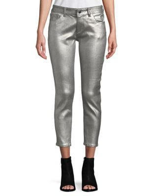 Metallic Cropped Jeans 500087724327