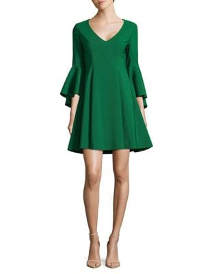 Bell-Sleeve Fit-&-Flare Dress by Belle Badgley Mischka