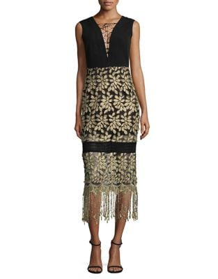 Tasseled Lace-Up Midi Dress by Belle Badgley Mischka