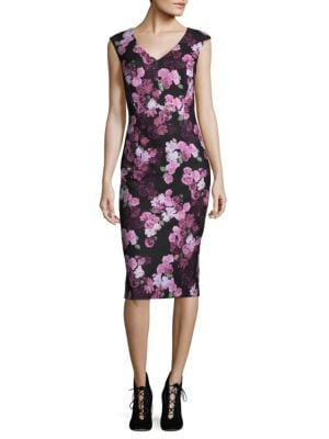 Floral Cap Sleeve Sheath Dress by Ivanka Trump