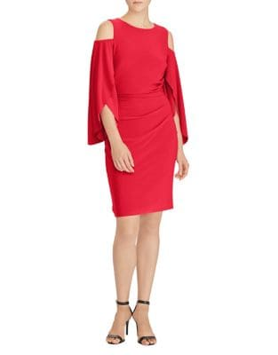 Cold-Shoulder Petal-Sleeve Sheath Dress by Lauren Ralph Lauren