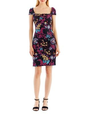 Floral Cap Sleeve Sheath Dress by Nicole Miller New York