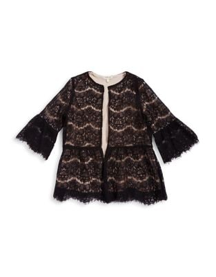 Girls Open Front Lace Bell Sleeve Blouse