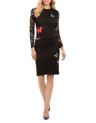 Long Sleeve Lace Sheath Dress by Nicole Miller New York