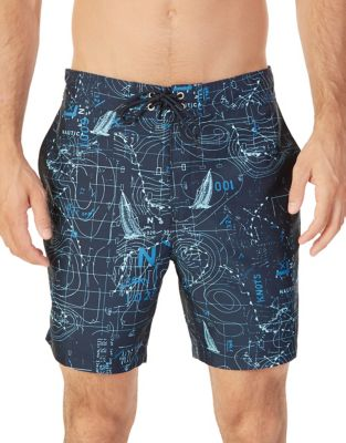 Geometric Map Swim Trunks...