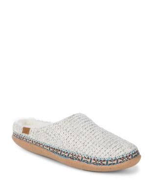 Braided Faux Fur-Trimmed Slippers by TOMS