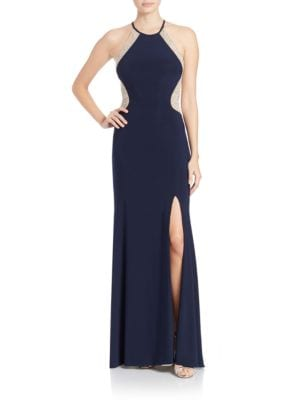 Beaded Halter Dress by Xscape