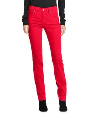 Premier Straight-Fit Sateen High-Rise Jeans 500087733749