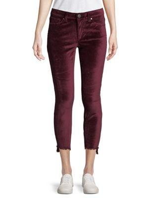 Asymmetric Cuff Velvet Jeans 500087734340