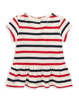 Baby Girls Striped Cotton Peplum Top