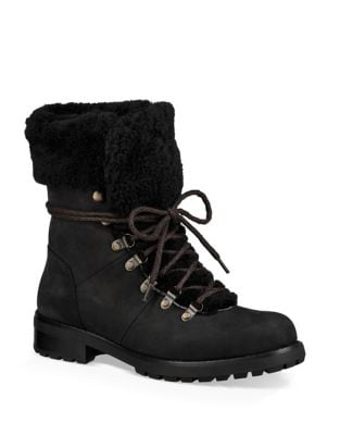 Fraser Shearling and Suede Combat Booties by UGG
