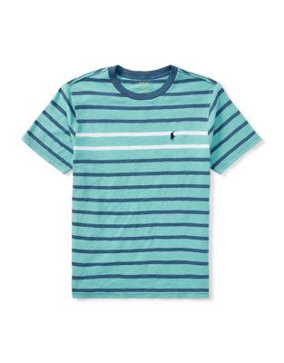 Boys Striped Crewneck Cotton Jersey Tee