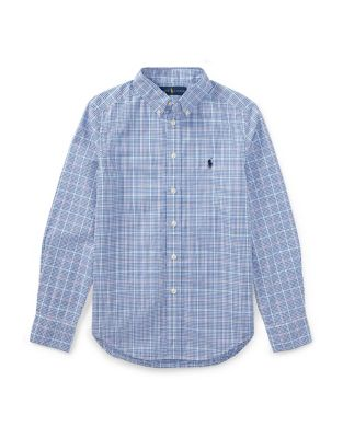 Boys Plaid Cotton Poplin Collared Shirt