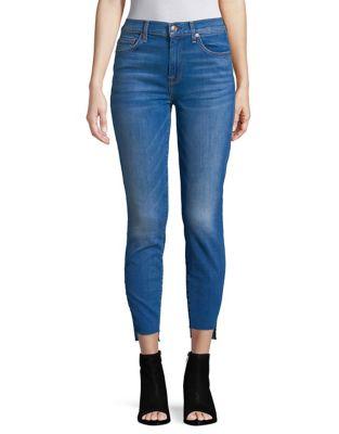 High-Waist Stepped Hem Skinny Jeans 500087740053
