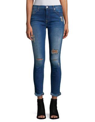 Ankle Skinny Ripped Raw Hem Jeans 500087740085