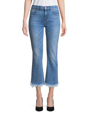 Fringe-Cuffs Cropped Jeans 500087740110