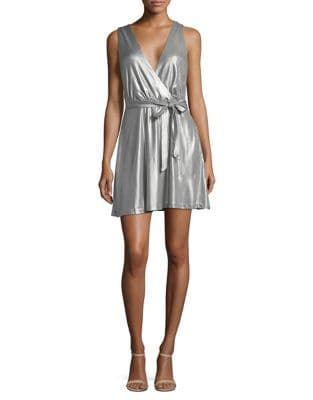 Metallic Mini Wrap Dress by BB Dakota