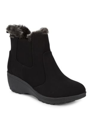 Ashlee Faux Fur-Trimmed Suede Zip Booties by Khombu