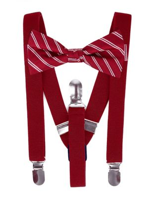 Boys TwoPiece Silk Stripe Bow Tie and Suspender Set