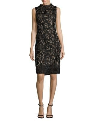 Lace Embroidered Sheath Dress by Adrianna Papell