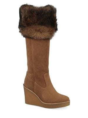Valberg Fur and Suede Wedge Boots by UGG