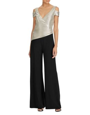 Photo of Metallic Cold-Shoulder Jumpsuit by Lauren Ralph Lauren - shop Lauren Ralph Lauren dresses sales