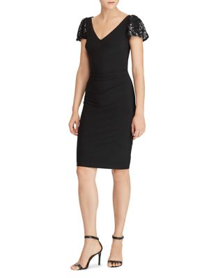 Lace-Sleeve Jersey Sheath Dress by Lauren Ralph Lauren