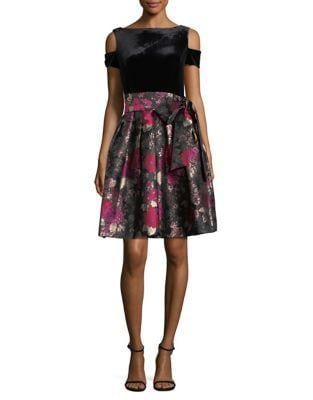 Velvet Cold-Shoulder and Floral Fit-and-Flare Dress by Tahari Arthur S. Levine