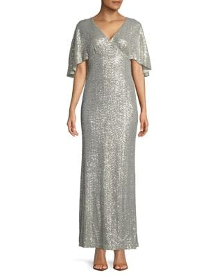 Sequined Overlay Floor-Length Gown by Lauren Ralph Lauren