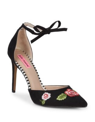 Abbie Embroidered Floral Stiletto Pumps by Betsey Johnson