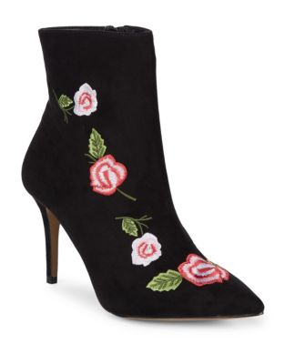 Embroidered Textile Booties by Betsey Johnson