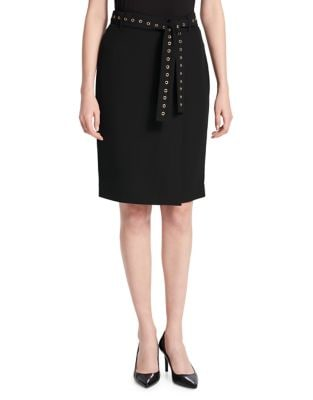 Studded Belt Pencil Skirt...