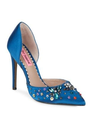 Embellished Satin D'Orsay Pumps by Betsey Johnson