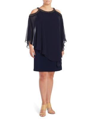 Plus Beaded Cold-Shoulder Dress by Xscape