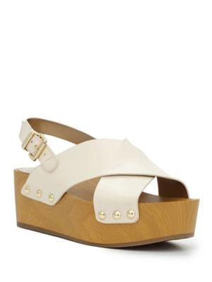 Studded Leather Wooden Wedge Sandals by Sam Edelman