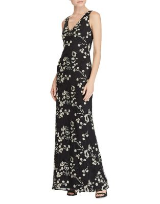 Photo of Lauren Ralph Lauren Floral Embroidered Floor-Length Mesh Gown