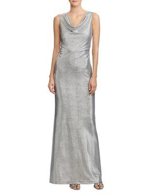 Metallic Sleeveless Floor-Length Gown by Lauren Ralph Lauren