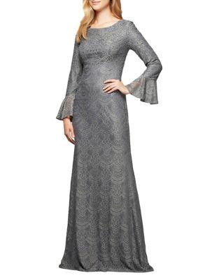 Studded Long A-Line Dress by Alex Evenings