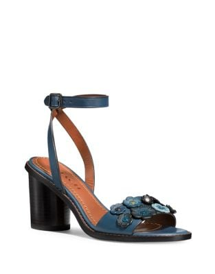 Mid Heel Leather Sandals by COACH