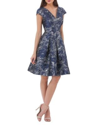 Metallic Brocade Fit-&-Flare Dress by Carmen Marc Valvo Infusion
