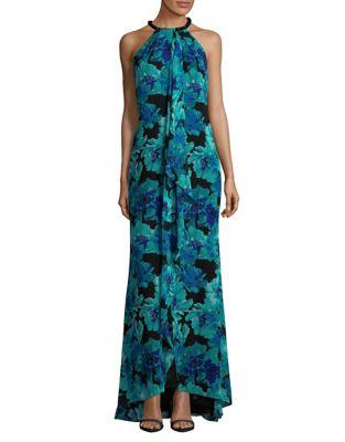 Floral-Print Halterneck Maxi Dress by Calvin Klein