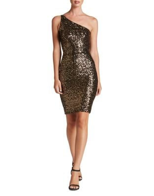 Cher Sequined One-Shoulder Bodycon Dress by Dress The Population