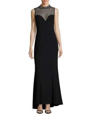 Embellished Mockneck Mermaid Gown by Vince Camuto