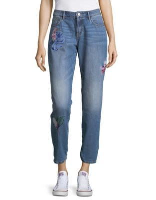 Embroidered Crop Jeans 500087770777