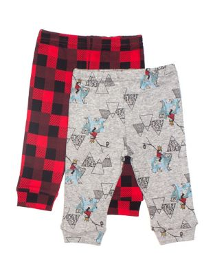 Baby Boys TwoPack Printed Cotton Pants