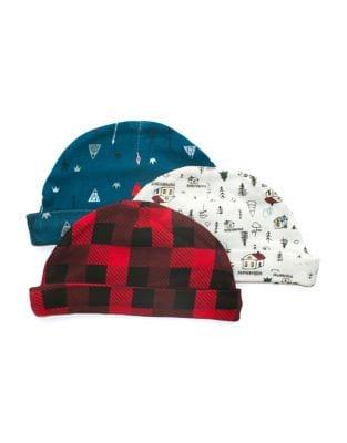Baby Boys ThreePack Printed Cotton Hats