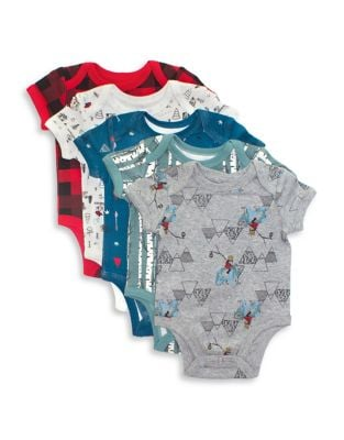 Baby Boys FivePack Printed Cotton Bodysuits