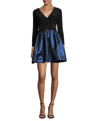 Petite Mesh Paneled Fit-&-Flare Dress by Xscape