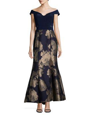 Petite Floral Off-The-Shoulder Midi Dress by Xscape
