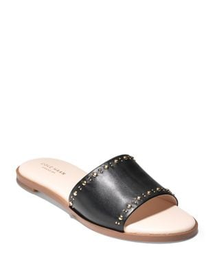 Anica Stud Leather Slide Sandals by Cole Haan
